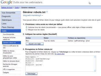 Outils pour Webmasters - Robots.txt